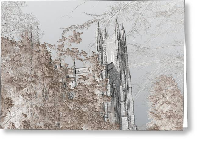 Paulette Wright Digital Art Greeting Cards - Duke Chapel - Infrared Greeting Card by Paulette B Wright