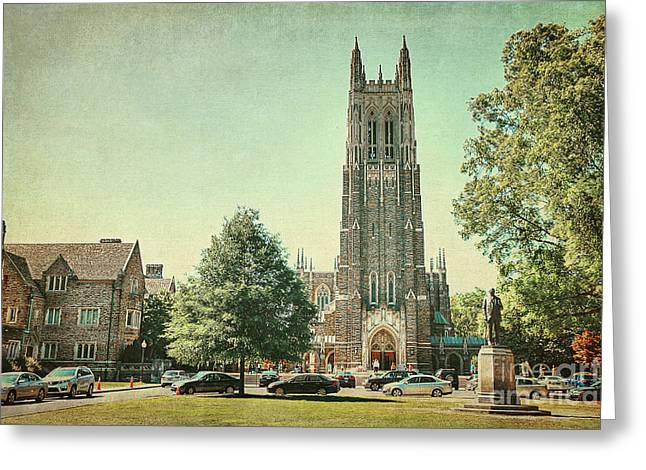 Duke Greeting Cards - Duke Chapel in Spring Greeting Card by Emily Enz