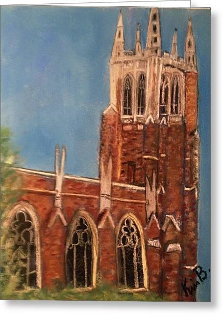 Duke Pastels Greeting Cards - Duke Chapel Greeting Card by Kimberly Balentine