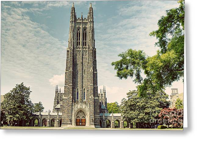 Duke Photographs Greeting Cards - Duke Chapel with a Vintage Feel Greeting Card by Emily Enz