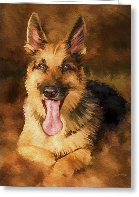 German Shepherd Greeting Cards - Duke Greeting Card by David Wagner