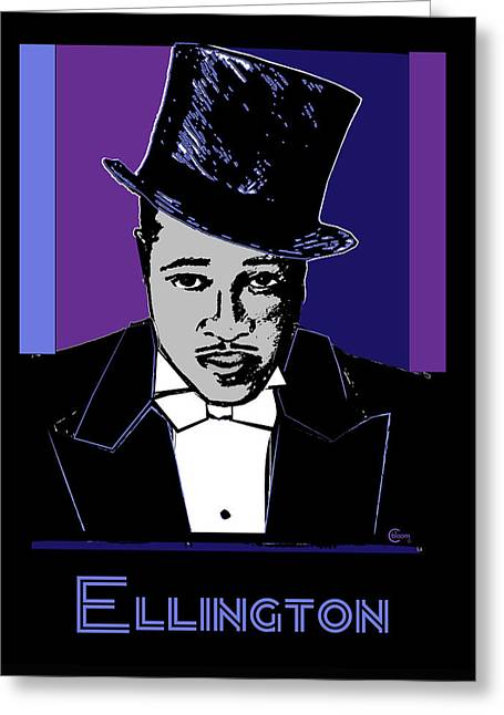 Universities Drawings Greeting Cards - Duke Ellington Portrait Greeting Card by Cecely Bloom