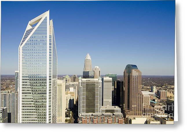 Clear Sky Images Greeting Cards - Duke Energy Charlotte Skyline Greeting Card by Clear Sky Images