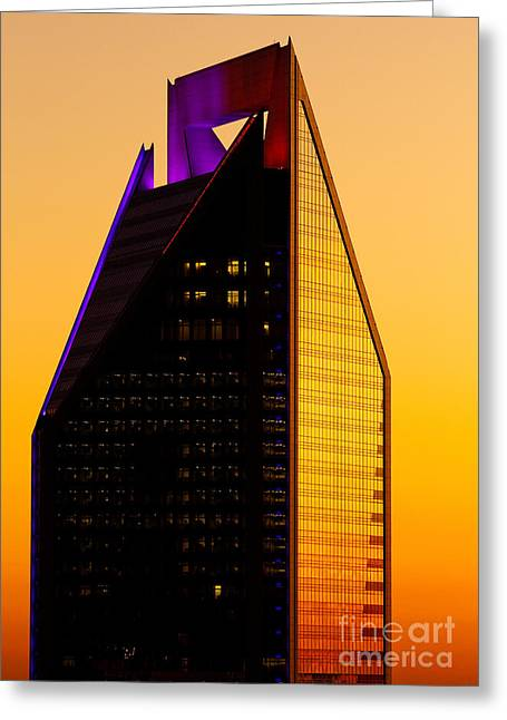 Dnc Greeting Cards - Duke Energy Tower at sunset vertical Greeting Card by Patrick Schneider