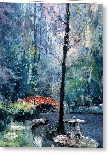 Duke Gardens Watercolor Batik Greeting Card by Ryan Fox