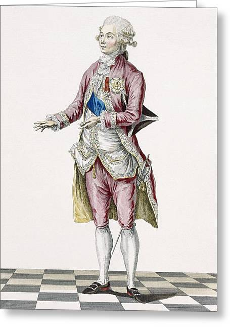 Embroidered Dress Greeting Cards - Duke In Country Attire Decorated Greeting Card by Pierre Thomas Le Clerc
