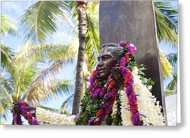 Duke Kahanamoku Covered in Leis Greeting Card by Brandon Tabiolo