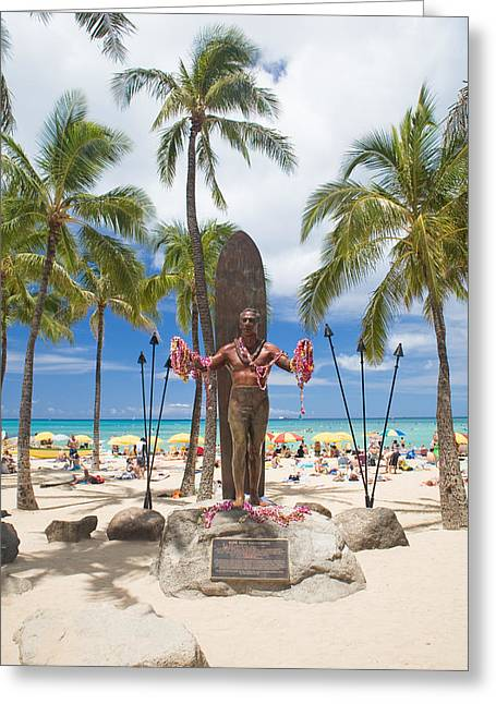 Beachboy Greeting Cards - Duke Kahanamoku statue Greeting Card by M Swiet Productions