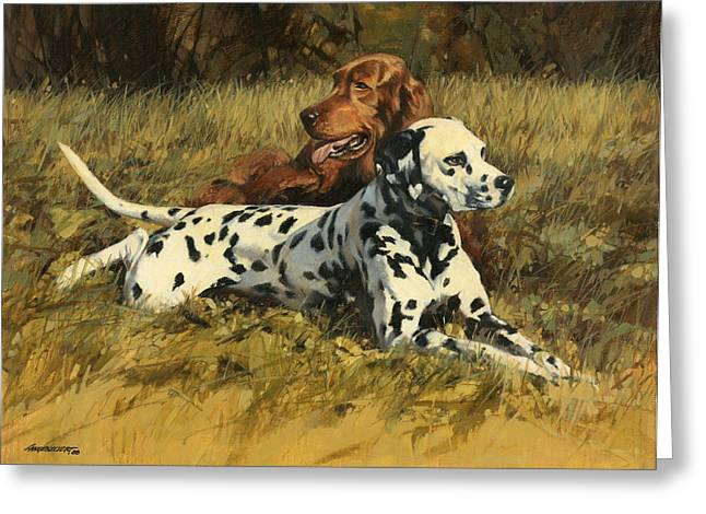 Setters Greeting Cards - Duke n Dooley Greeting Card by Don  Langeneckert