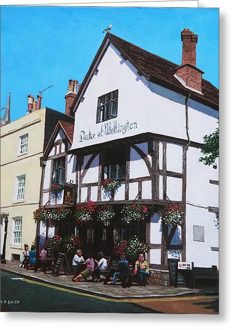 Hanging Baskets Greeting Cards - Duke of Wellington Tudor pub Southampton Greeting Card by Martin Davey