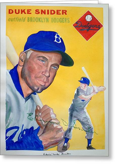 Snider Greeting Cards - Duke Snider Greeting Card by Robert  Myers