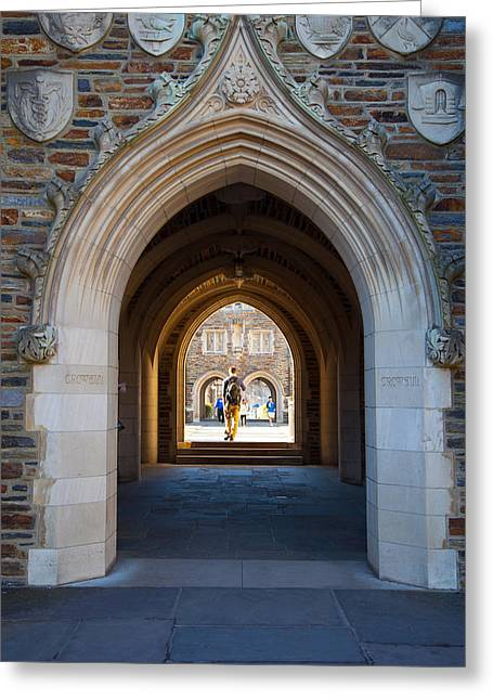 Student Housing Greeting Cards - Duke University Arches Greeting Card by Melinda Fawver