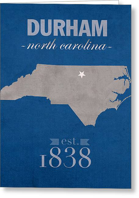 Carolina Mixed Media Greeting Cards - Duke University Blue Devils Durham North Carolina College Town State Map Poster Series No 034 Greeting Card by Design Turnpike
