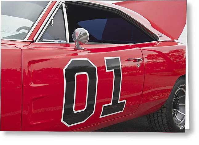 Dukes Of Hazard Show Greeting Cards - Dukes of Hazard General Lee Greeting Card by Glenn Gordon