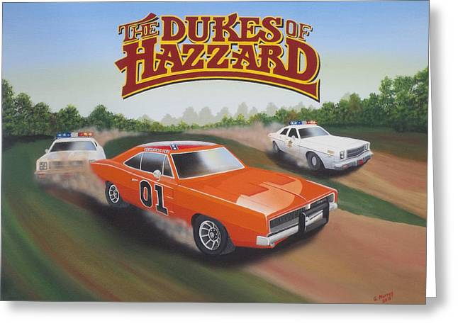 Etc. Paintings Greeting Cards - Dukes of Hazzard Chase Greeting Card by Gregory Murray
