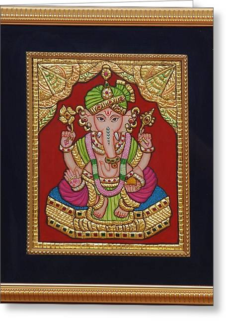 Tanjore Greeting Cards - Dulha  vinayak Greeting Card by Vimala Jajoo