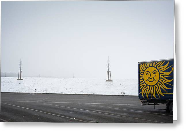 White Truck Greeting Cards - Dull and grey winter day but the sun is smiling Greeting Card by Matthias Hauser