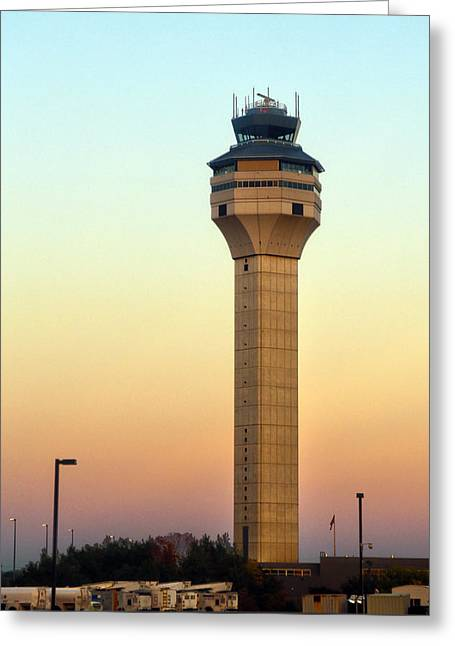 Traffic Control Greeting Cards - Dulles Airport Traffic Control Tower Greeting Card by Mitch Cat