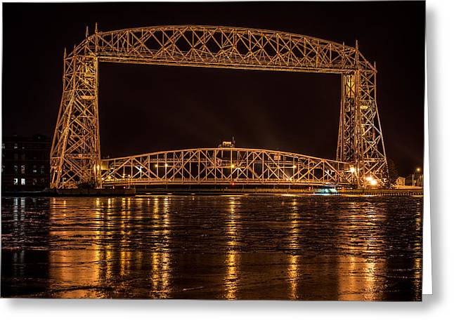 Decorate Greeting Cards - Duluth Aerial Lift Bridge Greeting Card by Paul Freidlund