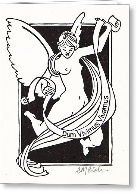 Linoleum Cut Greeting Cards - Dum Vivimus Vivamus - linocut Greeting Card by Glenda Blake