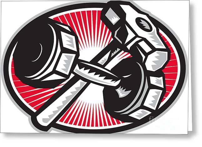Dumbbell And Sledgehammer Retro Greeting Card by Aloysius Patrimonio