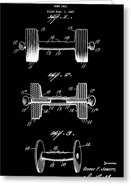 Weights Digital Greeting Cards - Dumbbell Patent Greeting Card by Dan Sproul
