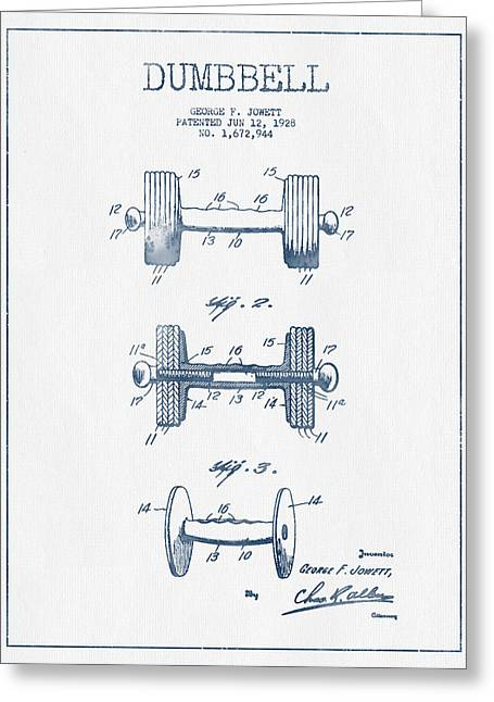 Gym Greeting Cards - Dumbbell Patent Drawing from 1927  -  Blue Ink Greeting Card by Aged Pixel