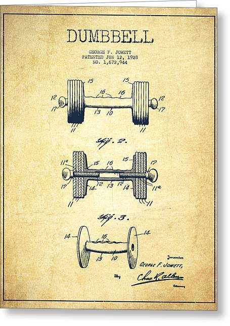 Gym Greeting Cards - Dumbbell Patent Drawing from 1927 - Vintage Greeting Card by Aged Pixel