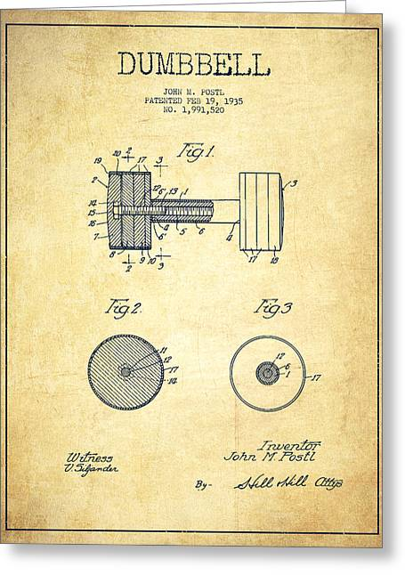 Bodybuilding Greeting Cards - Dumbbell Patent Drawing from 1935 -Vintage Greeting Card by Aged Pixel
