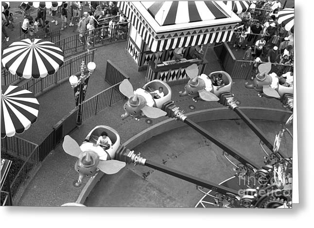 Dumbo Greeting Cards - Dumbo Ride Disney World circa 1995 Greeting Card by Edward Fielding