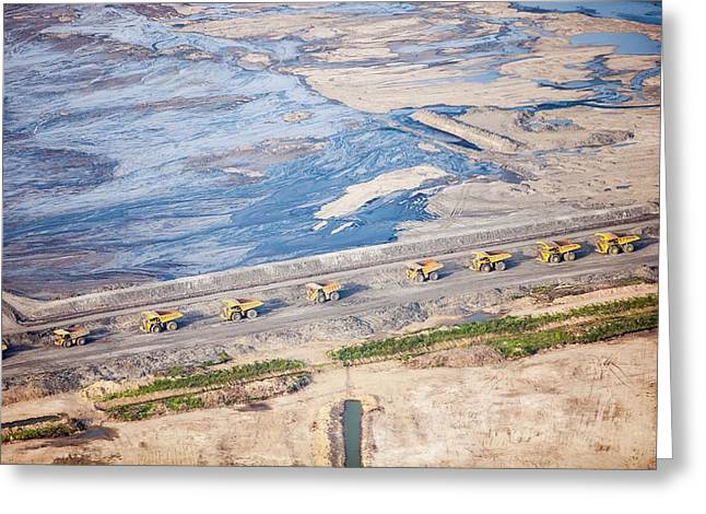 Dump Trucks At Tar Sand Mine Greeting Card by Ashley Cooper