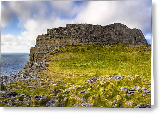 Galway Bay Greeting Cards - Dun Aengus - Iron Age Ruins Coastal Panorama Greeting Card by Mark Tisdale