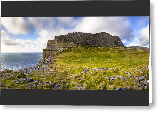 Dun Aengus - Iron Age Ruins Coastal Panorama Greeting Card by Mark E Tisdale