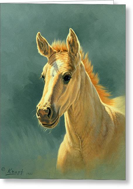 Colts Greeting Cards - Dun Colt Portrait Greeting Card by Paul Krapf