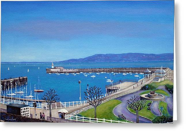 Light Framed Prints Greeting Cards - Dun Laoghaire Pier Dublin Greeting Card by John  Nolan