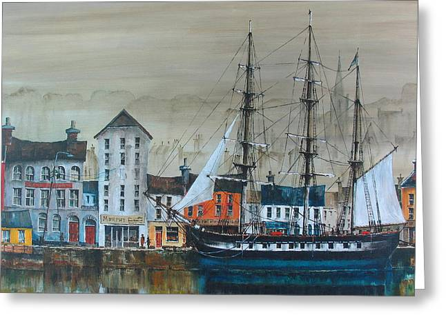 Famine Greeting Cards - Dunbrody Famine Ship Greeting Card by Val Byrne