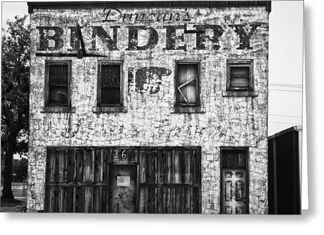 Downtown Books Greeting Cards - Duncan Bindery Building Front Black and White Greeting Card by David Waldo