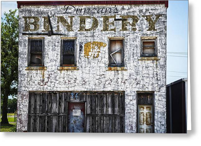 Waldo Greeting Cards - Duncan Bindery Building Front Greeting Card by David Waldo