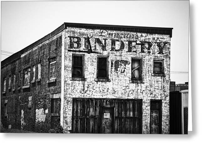 Downtown Books Greeting Cards - Duncan Bindery Building Profile Black and White Greeting Card by David Waldo