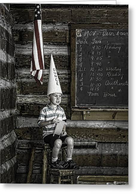 Red School House Greeting Cards - Dunce  6424   Greeting Card by Karen Celella