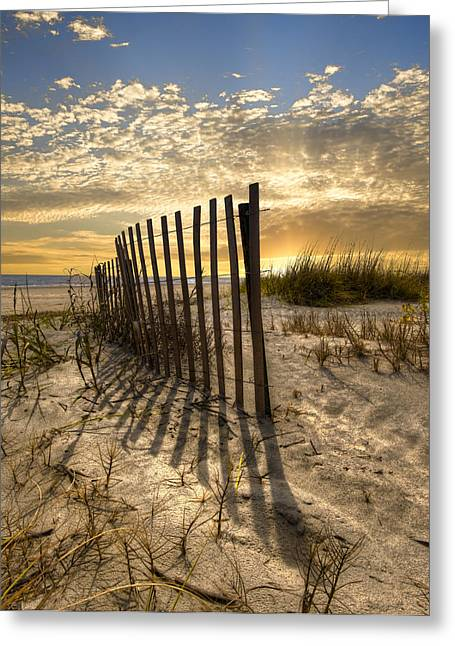 Fencing Greeting Cards - Dune Fence at Sunrise Greeting Card by Debra and Dave Vanderlaan