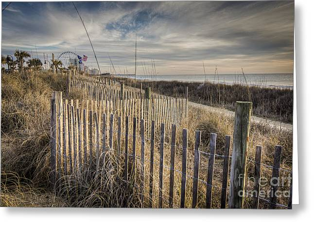 Myrtle Greeting Cards - Dune Fence Greeting Card by Matthew Trudeau