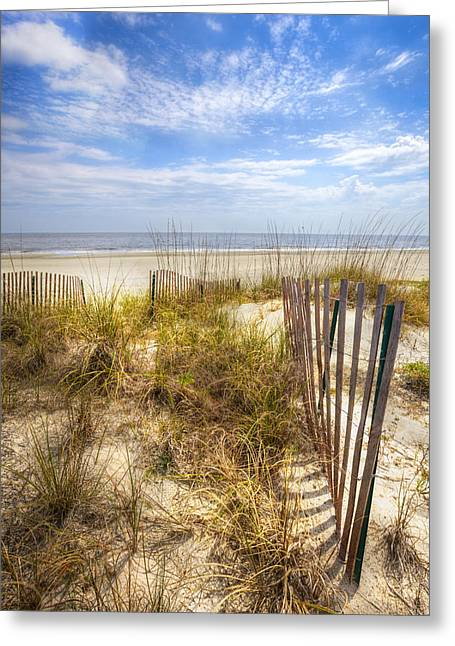 Sanddunes Greeting Cards - Dune Fence Shadows Greeting Card by Debra and Dave Vanderlaan