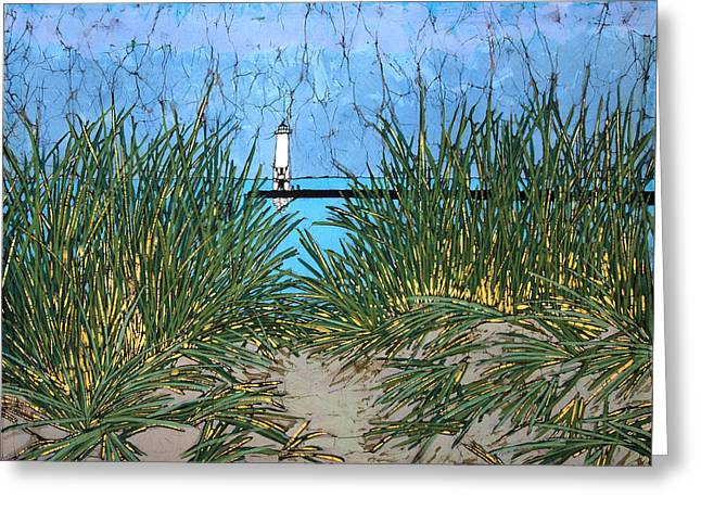 Lake Tapestries - Textiles Greeting Cards - Dune Grass and Pier Greeting Card by Terri Haugen
