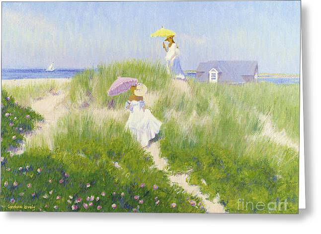 Sand Dunes Paintings Greeting Cards - Dune Pass  Greeting Card by Candace Lovely
