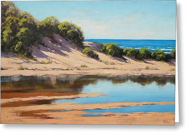 Sand Dunes Paintings Greeting Cards - Dune Reflections Greeting Card by Graham Gercken