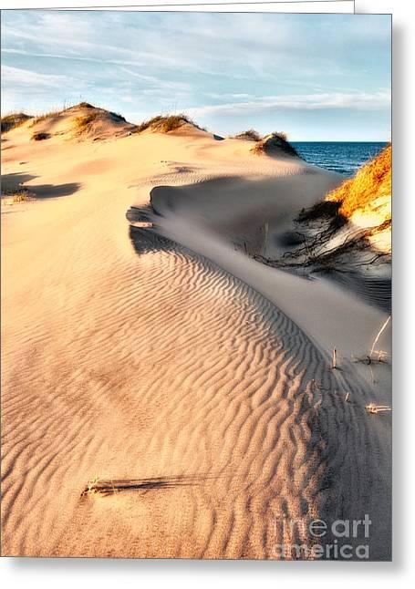 Sunset Framed Prints Digital Art Greeting Cards - Dune Shadows - Outer Banks Greeting Card by Dan Carmichael