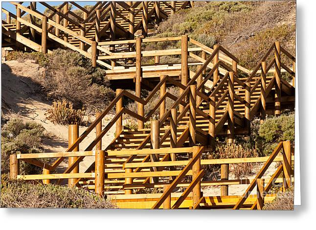 Wooden Stairs Greeting Cards - Dune Steps 05 Greeting Card by Rick Piper Photography