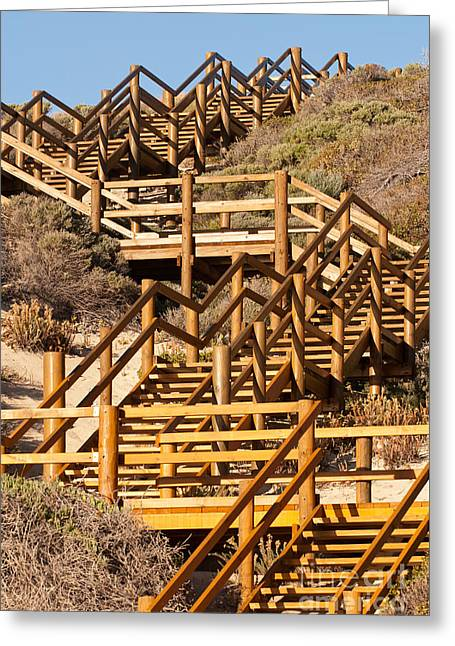 Wooden Stairs Greeting Cards - Dune Steps 06 Greeting Card by Rick Piper Photography