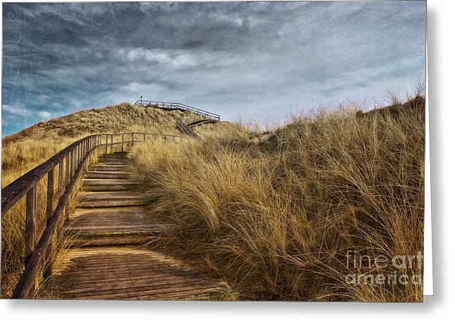 Hdr Landscape Mixed Media Greeting Cards - Dune with Viewpoint Greeting Card by Angela Doelling AD DESIGN Photo and PhotoArt